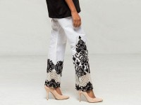 Cotton Embroidered Bootcut Trouser - White in Pakistan