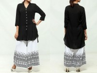 Ladies Black Top with Printed White Plazo in Pakistan