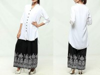 Ladies White Top with Printed Black Plazo in Pakistan