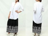 Ladies White Top with Printed Black Plazo in Pakistan