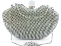 Luxury Crystal Diamante Bridal Clutch - Silver in Pakistan