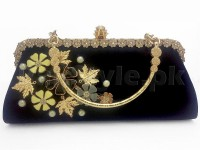 Black Floral Evening Clutch Bag in Pakistan