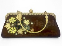 Brown Floral Evening Clutch Bag in Pakistan