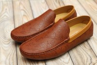 Stylish Texture Men's Loafers Brown in Pakistan