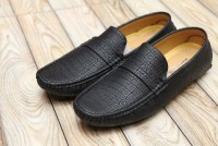 Black Block Pattern Loafers in Pakistan