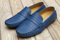 Blue Block Pattern Loafers in Pakistan