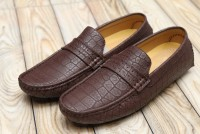 Dark Brown Block Pattern Loafers in Pakistan