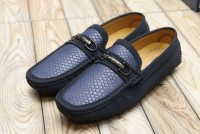 Men's Textured Blue Loafers in Pakistan