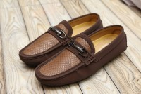 Men's Textured Dark Brown Loafers in Pakistan