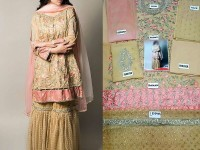 Beige Embroidered Chiffon Dress in Pakistan