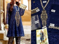Navy Blue Chiffon Dress with Jamawar Trouser in Pakistan