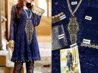 Navy Blue Chiffon Dress with Jamawar Trouser in Pakistan