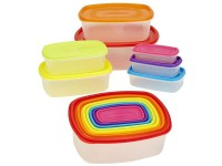 Pack of 7 Rainbow Plastic Food Containers