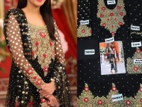 Embroidered Black Chiffon Dress in Pakistan