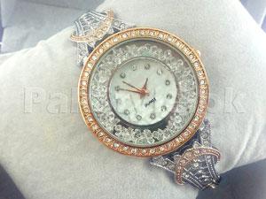 Rhinestone Eiffel Tower Bracelet Watch - Two Tone Black in Pakistan