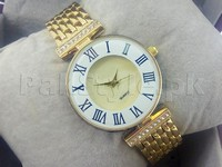Ladies Roman Numeral Watch - Golden in Pakistan