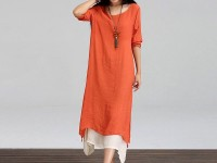 Women's Long Linen Kurti - Orange in Pakistan