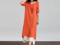 Women's Long Linen Kurti - Orange in Pakistan