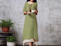 Women's Long Linen Kurti - Green in Pakistan