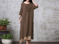 Women's Long Linen Kurti - Dark Grey in Pakistan