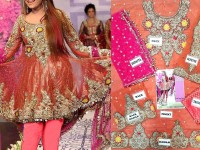 Heavy Embroidered Net Bridal Dress in Pakistan