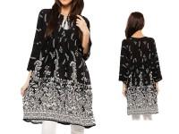 Boski Linen Black Kurti with White Tight in Pakistan