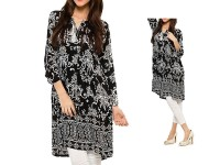 Boski Linen Black Kurti with White Tight in Pakistan