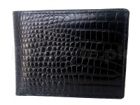 Croc Embossed Leather Wallet - Black